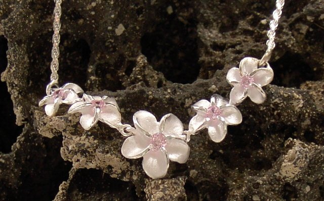 Silver Hawaiian Plumeria Flower, Pink CZ Necklace