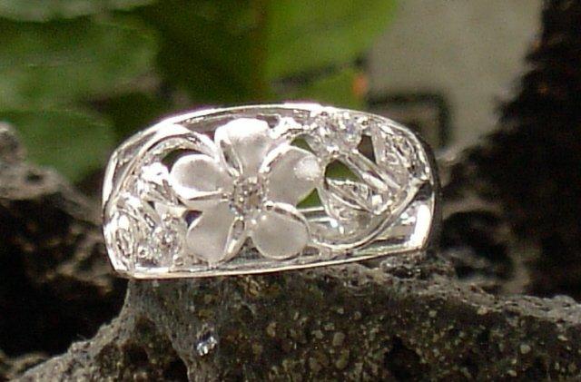 Silver Hawaiian Plumeria & Maile Leaf Ring, sz. 7.50