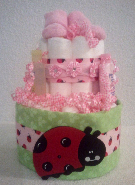 Diaper Cake 2 Tier Lovely Ladybug Girl Baby Shower Gift