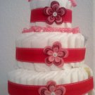Diaper Cake Red and Pink Flowers