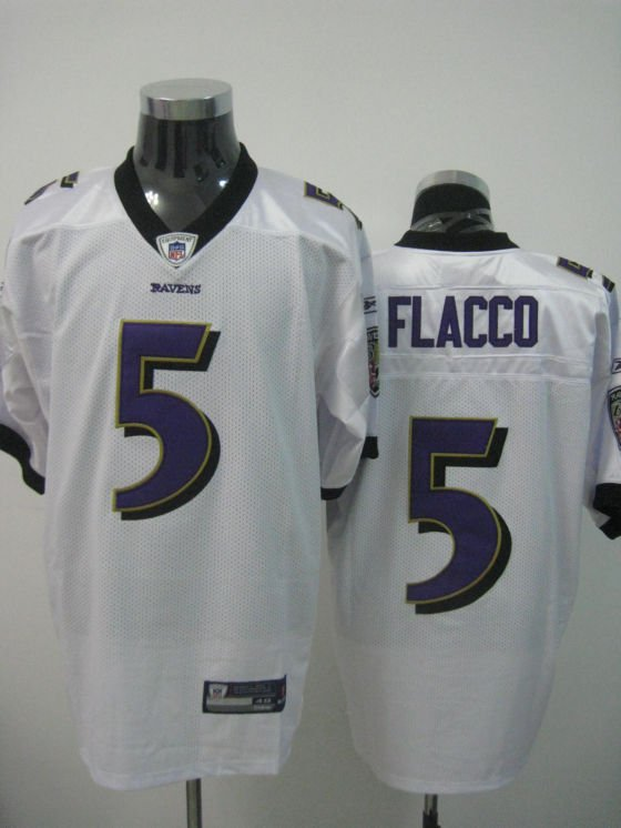 Baltimore Ravens # 5 Flacco NFL Jersey White