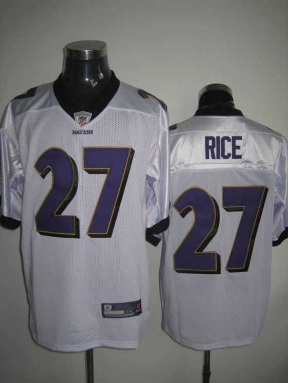 Baltimore Ravens # 27 Rice NFL Jersey White