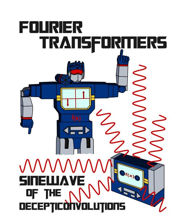 Math T-Shirt - Size XL - Unisex White - Fourier Transformers / Sinewave