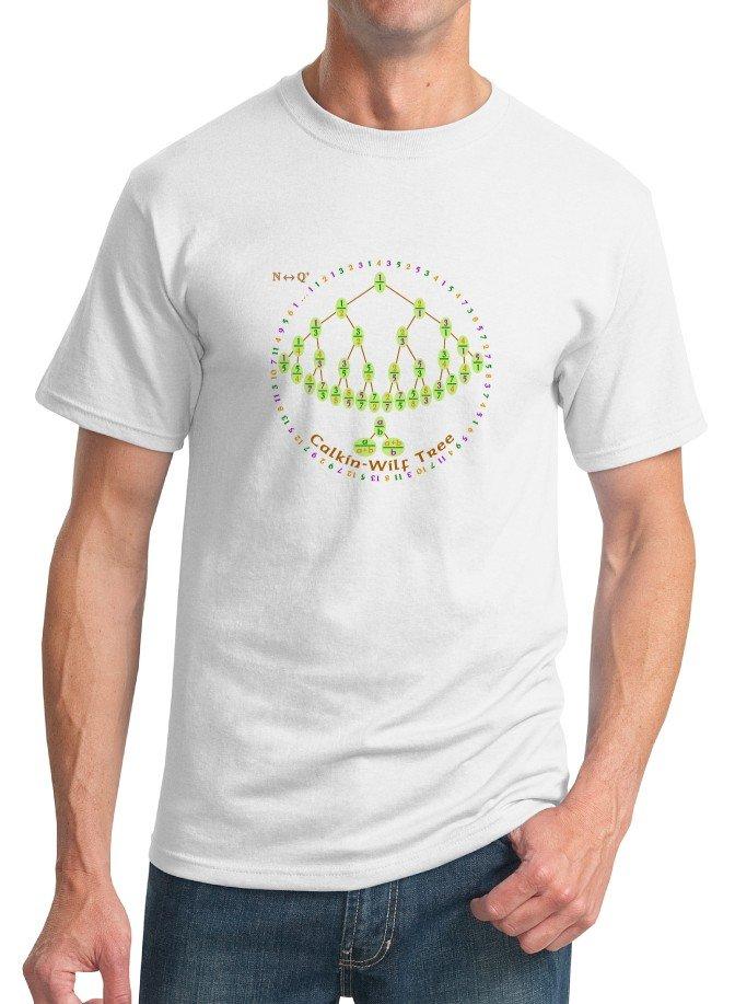 Math T-Shirt - Size L - Unisex White - Calkin-Wilf Tree