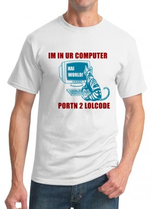 Programming T-Shirt - Size M - Unisex White - LOLcode (Doublesided)