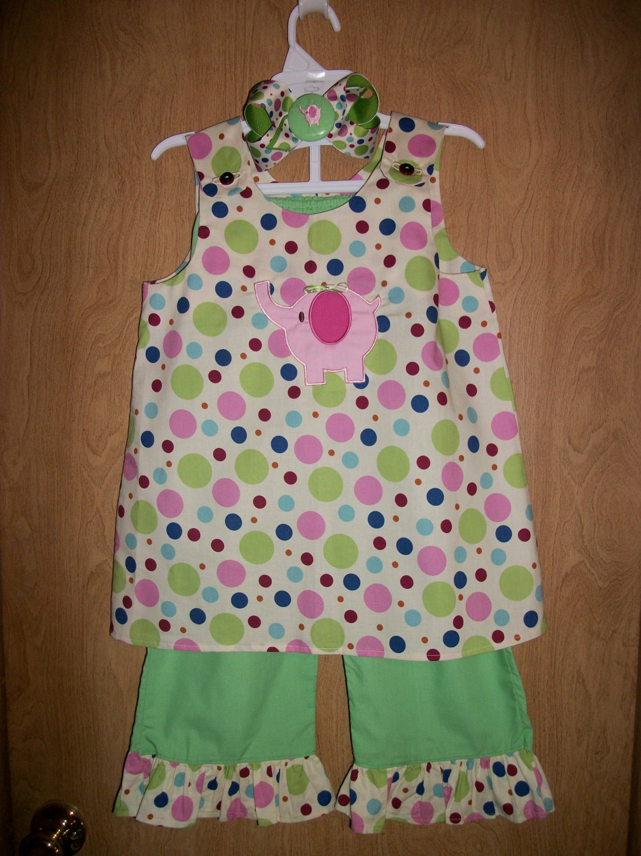 Girls elephant capri/pants set 6m-3t with matching bow