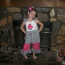 Girls handmade capri outfit 6m-3t with matching hairbow