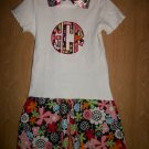 girls shorts set with matching hairbow