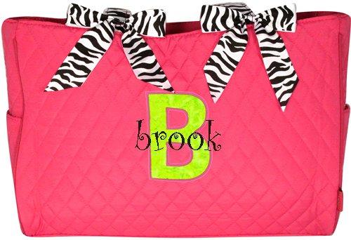 Diaper Bag w/ Zebra Trim (LETTER APPLIQUE)