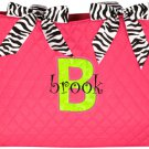 Diaper Bag w/ Zebra Trim (LETTER APPLIQUE)