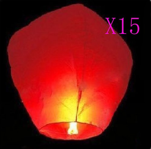 15 X FIRE SKY CHINESE LANTERNS BIRTHDAY WEDDING PARTY CHRISTMAS RED