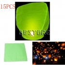 15pcs Chinese Flying Paper Fire Sky Lantern Wish Balloon For Wedding Festival Christmas Green