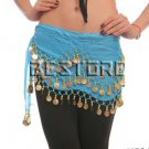 Belly Dance With 128 coins Hip Scarf Lake blue