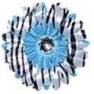 Blue Zebra daisy hairclip