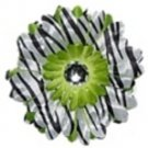 Lime Zebra daisy hairclips
