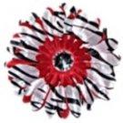 Red Zebra  daisy hairclip