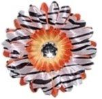 Orange Zebra  daisy hairclip
