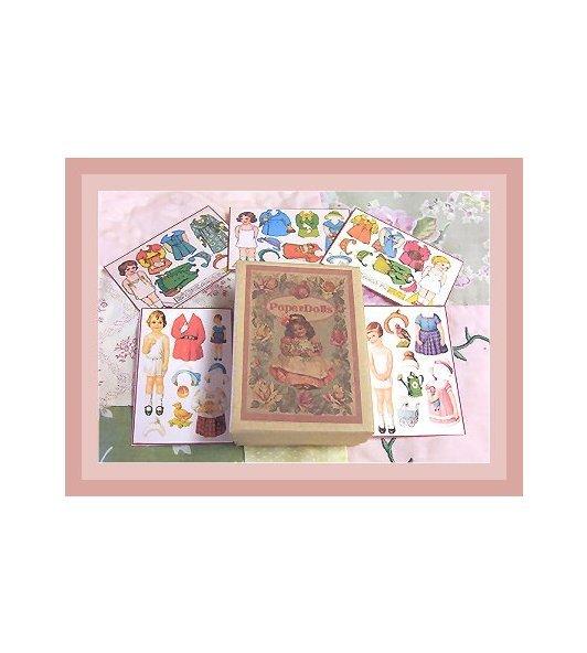 Vintage Style  Mini Paper Dolls & Box.PD19