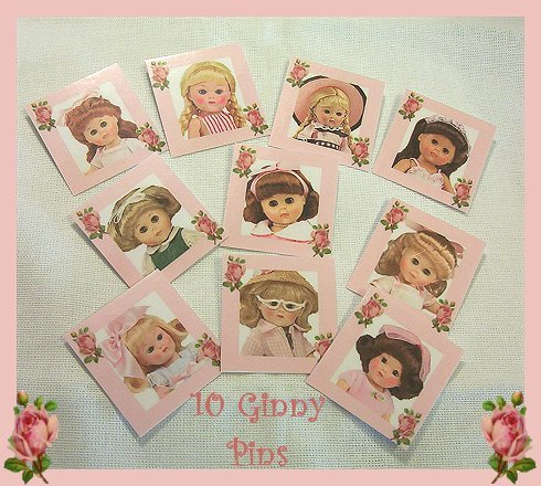 """10 Mini """"Ginny"""" Doll  Pins P15 Great Doll Favors  Tea Party Favors"""