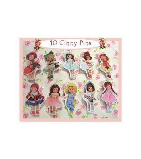 """10 Mini """"Ginny"""" Doll  Pins P26"""