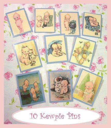 """10 Mini """"Kewpie"""" Doll  Pins P14"""