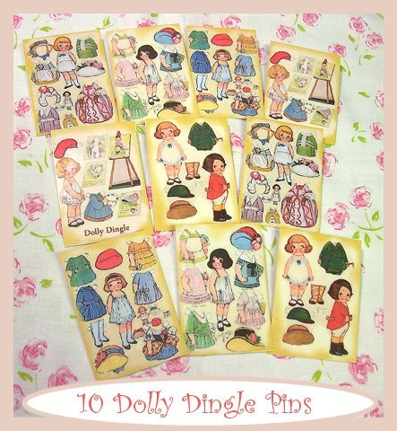 "10 Mini Vintage Style ""Dolly Dingle"" Pins P10"