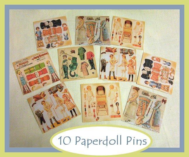 10 Mini Vintage Style Paper Doll  Pins P11