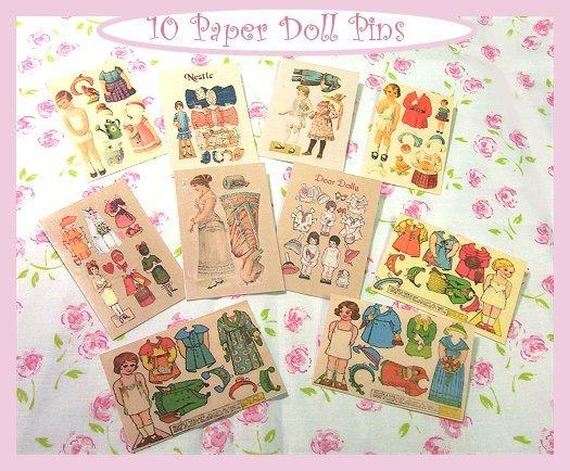 10 Mini Vintage Style Paper Doll  Pins P21
