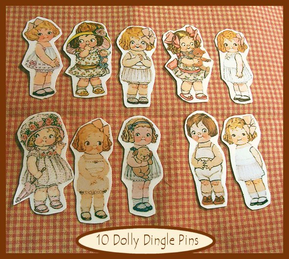 10 Mini VintageStyle Dolly Dingle Pins P5