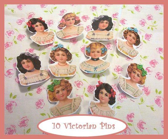 10 Mini Victorian Doll  Pins P18