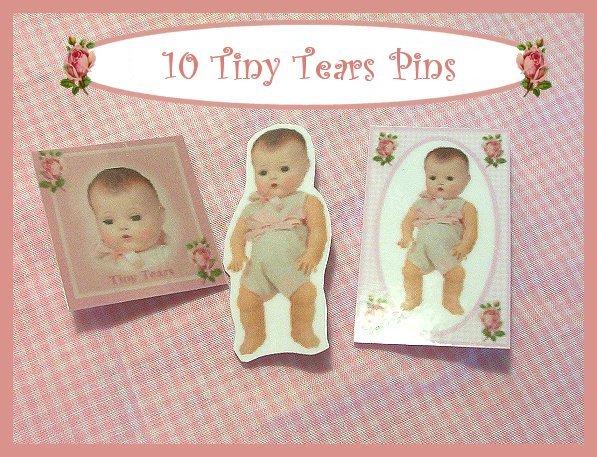 """10 Mini """"Tiny Tears Doll  Pins P19"""
