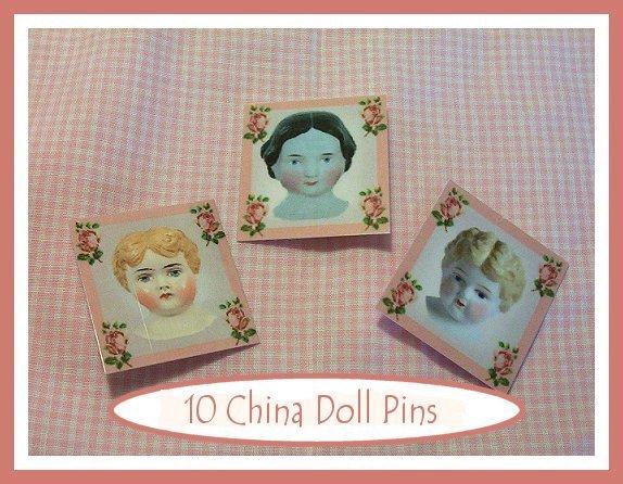 10 Mini China Doll  Pins P9