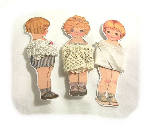3 Vintage Style Paperdoll Thread/Ribbon/L�ace Keeper A1