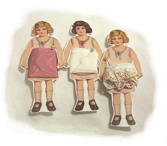 3 Vintage Style Paperdoll Thread/Ribbon/L�ace Keeper A2