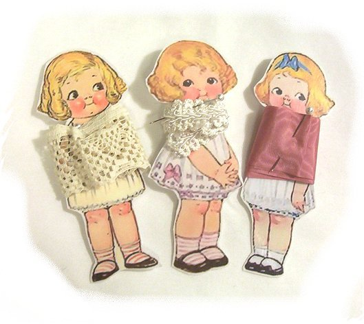 3 Vintage Style Paperdoll Thread/Ribbon/L�ace Keeper A3