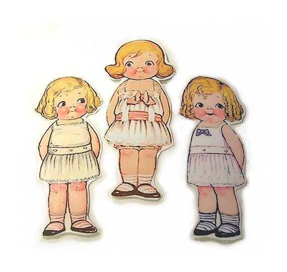 3 Vintage Style Paperdoll Thread/Ribbon/L�ace Keeper A5
