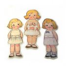 3 Vintage Style Paperdoll Thread/Ribbon/L​ace Keeper A5