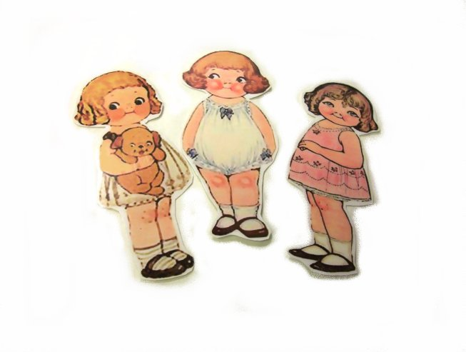 3 Vintage Style Paperdoll Thread/Ribbon/L�ace Keeper A7