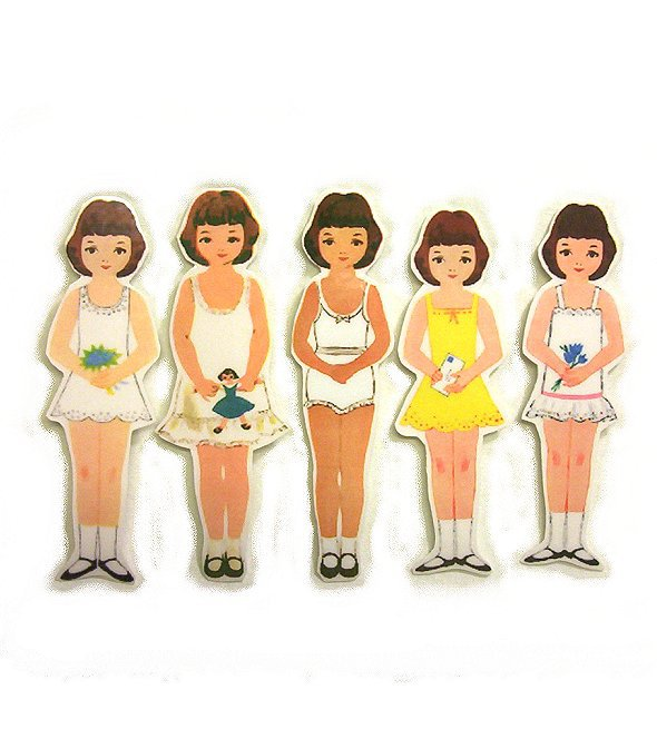 5 Vintage Style Paperdoll Thread/Ribbon/Lace Keeper A8