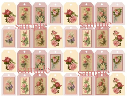 32 Shabby Cottage Rose Pink Tags S36B