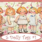 Dolly Dingle Tag Set Vintage Retro Style 5 Pc #1