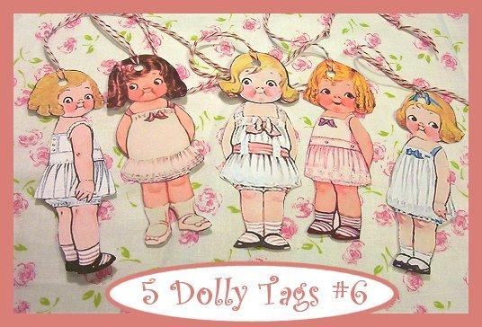Dolly Dingle Tag Set Vintage Retro Style 5 Pc #6