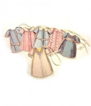 6 Vintage Style Paper Doll  Dress Tags T8