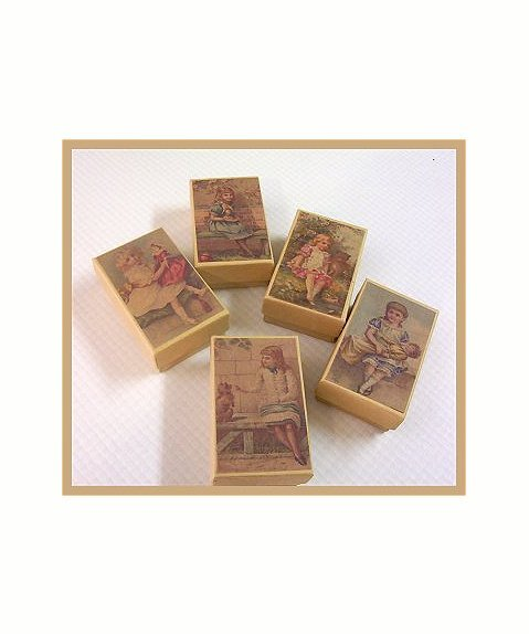 5 Wee Doll Boxes/Lids #V4  Antique Style Doll Boxes