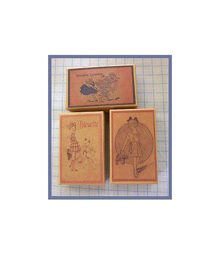 3 Wee Bleuette Boxes #B4  Antique Style  Boxes
