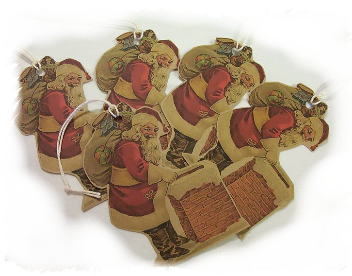 5 Vintage Inspired Santa Tags, Ornies, Decorations  #6