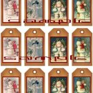 12 Vintage Primitive Santa Tags #1
