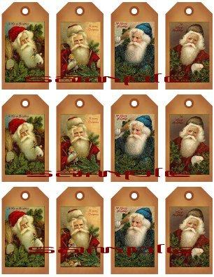 12 Vintage Primitive Santa Tags #3