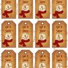 12 Vintage Primitive SnowmanTags #7