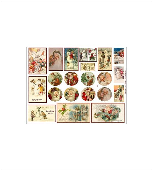 "Vintage Christmas Sticker Sheet Uncut 8.5x11"" #S71"